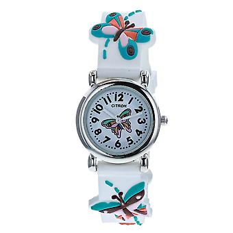 Citron KID149 Analogue Girls 3D Blue Butterfly Motiff White Silicone Strap Watch