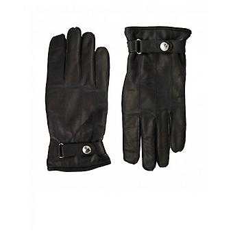 Paul Smith Accessories Ribbed Button Detail Leather Gloves