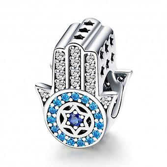Sterling Silver Charm Hand fatima blå - 5678