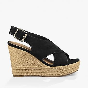 UGG Harlow Ladies Suede Wedge Sandals Black