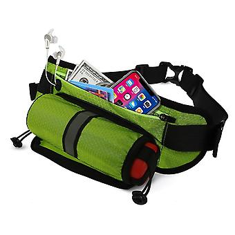 Waist bag with bottle holder and mobile compartment - green