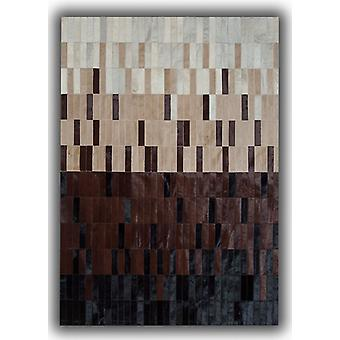 Rugs -Patchwork Leather Strips Cowhide - Degradada Brown