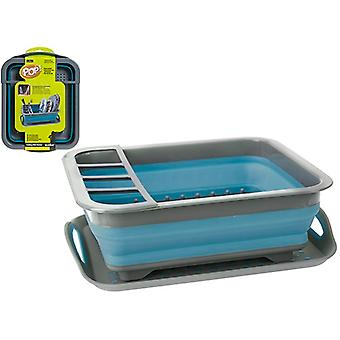 Pop! Dish Drainer With Non-Slip Drip Tray Blue / Grey