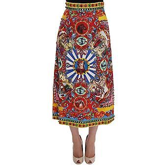 Dolce & Gabbana Red Carretto tisk brokát křišťálové sukně--SKI1237360