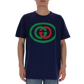 Gucci 565806xjbau4397 Men's Blue Cotton T-shirt