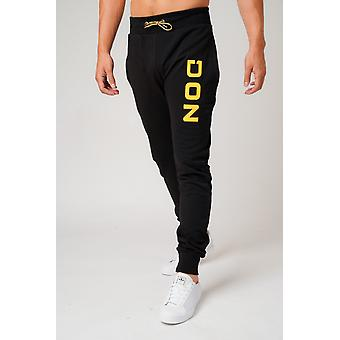 Don applique black & yellow joggers