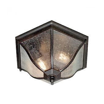 New England Ceiling Lamp, Bronze And Glass