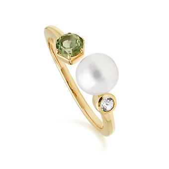 Modern Pearl, Peridot & Topaz Open Ring in Gold Plated Sterling Silver  270R058606925