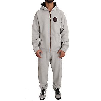 Billionaire Italian Couture Gray Two Way Full Zip Cotton Tracksuit