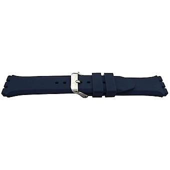 Swatch style watch strap blue heavy grade rubber 19mm with stainless steel buckle