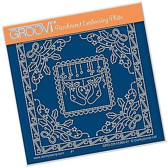 Groovi Tina-apos;s Christmas Stockings Parchlet A6 Square Plate
