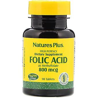 Nature-apos;s Plus, Acide Folique, 800 mcg, 90 comprimés