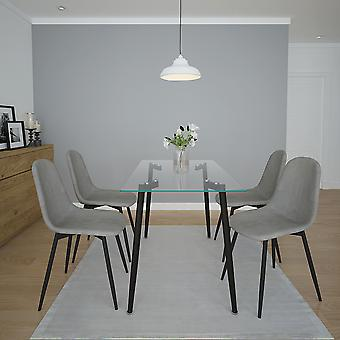 Aaliyah/James 5Pc Dining Set - Black Table/Grey Chair