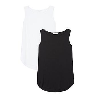 Marque - Daily Ritual Women's Jersey Bateau-Neck Tank Top, Noir/Blanc, Moyen
