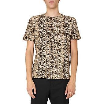 Saint Laurent 633119ybwk29745 Men's Leopard Cotton T-shirt