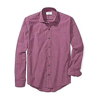 BUTTONED DOWN Men's Slim Fit Supima Cotton Spread-Collar Pattern Non-Iron Dre...