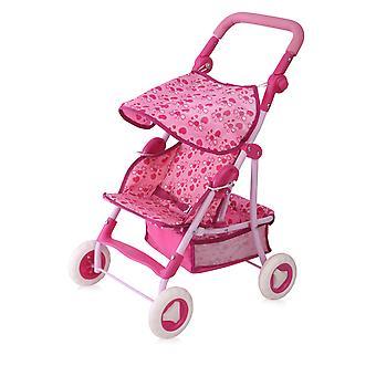 Lorelli pop buggy lente, roze harten, mand, zonnedak, veiligheidsgordel