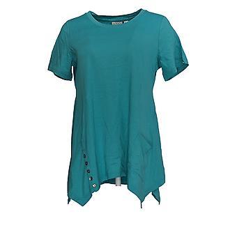LOGOTIPO por Lori Goldstein Women's Top Cotton Modal Knit W/ Button Blue A290508