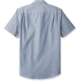 Essentials Men's Slim-Fit Kurzarm Streifen Shirt, Marine Streifen, groß