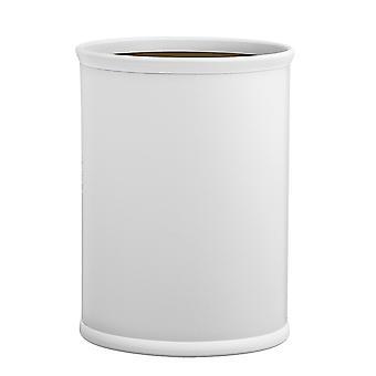 Contempo White 14 Inches Oval Waste Basket White Bumper