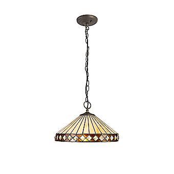 Luminosa Beleuchtung - 3 Licht Downlighter Deckenleuchte E27 mit 40cm Tiffany Schatten, Bernstein, Kristall, alteralter antiker Messing