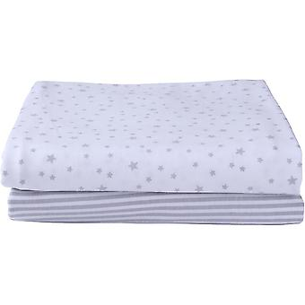 Clair de Lune Pack Of 2 Fitted Pram/Crib Sheets