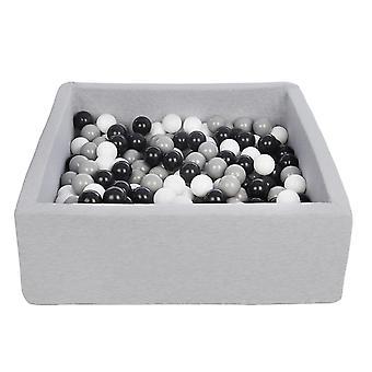 Poço de bola quadrada 90x90 cm com 200 bolas pretas, brancas e cinza