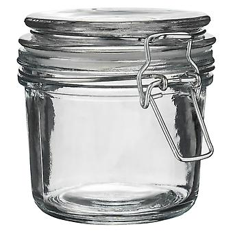 Argon Tableware Glass Storage Jar with Airtight Clip Lid - 350ml - Clear Seal