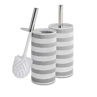 Toilet Brush and Closed Ceramic Holder Set - Steel Handle - Grey Stripe - Pack of 2