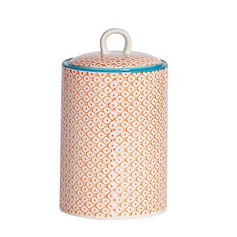 Nicola Spring Hand-Printed Tea Coffee Sugar Canister - Porcelain Kitchen Storage Jar with Seal - Orange - 1L