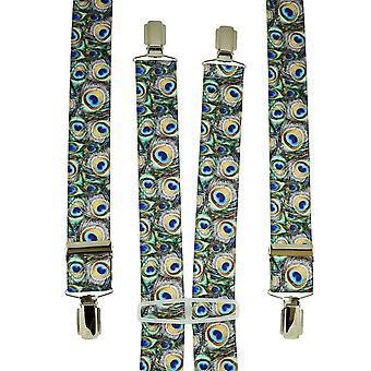 Corbatas planeta colorido pavo real plumas patrones hombres's pantalón braces