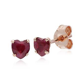קלאסי לב רובי אבן אחת לב עגילים צמודים בזהב ורד 9ct 135E1497019