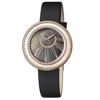 גבריל נשים 's 3345.1 השדרה החמישית יהלומים ורוד-זהב IP פלדה שחור סאטן שעונים