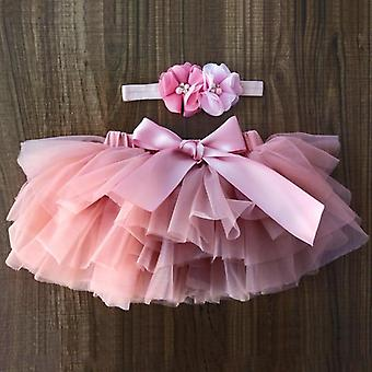 Newborn Baby Tulle Bloomers Tutu Diapers Cover Short Skirts+headband Set,