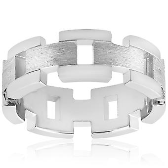 14k White Gold Solid Brushed Mens Heavy Weight Wedding Band