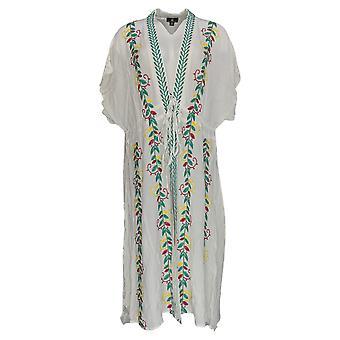 Curations Plus Dress Embroidered Gauze Kaftan White 688-950