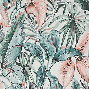 Sublime Leaves Exotique Wallpaper Grey / Pink Graham and Brown 107009