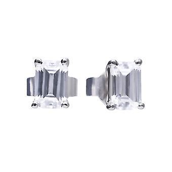 Diamonfire 925 Sterling Silver Emerald Cut Cubic Zirconia Stud Boucles d'oreilles avec Post & Butterfly