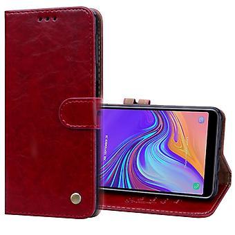 Business Style Oil Wax Texture Horizontale Flip Lederen Case voor Galaxy A7 (2018) , met houder en Kaartsleuven en - Portemonnee (Rood)