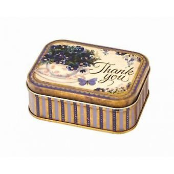 Nostalgia 'Thank You' Vintage Style Small Rectangle Storage / Gift Tin