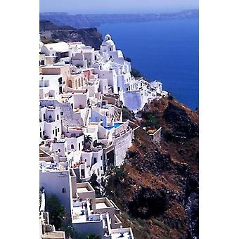 White Buildings in Oia Santorini Athens Greece Poster Print by Bill Bachmann