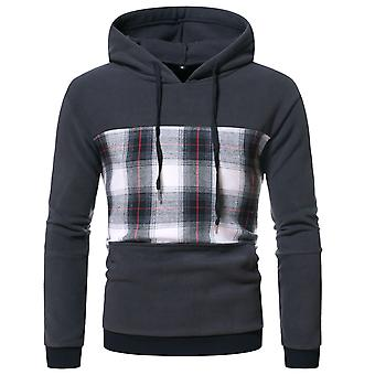 Men's Stitching Plaid Hooded Pullover Red Lines Long Sleeve Sweatshirt