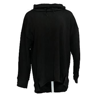 Cuddl Duds Women's Top Teddy Pluche Cowl Neck String Pullover Black A369291