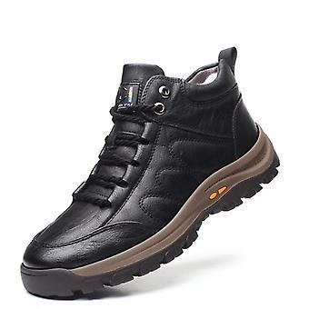 Winter Warm & Genuine Leather Wool Fur Outdoor Snow Boots, Waterproof, Non-slip