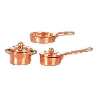 Puppen Haus 01:24 Maßstab Kupfer Pan Saucepan Set Miniatur Küche Zubehör