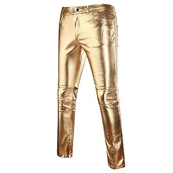 Skinny Shiny Pu Leather Pants, Motorcycle, Nightclub Stage Pants