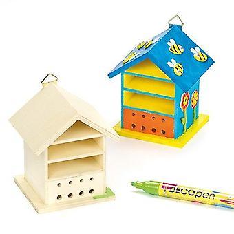 Baker ross houten bug huis ambachtelijke kits (pack van 2) bughouses te schilderen en te versieren