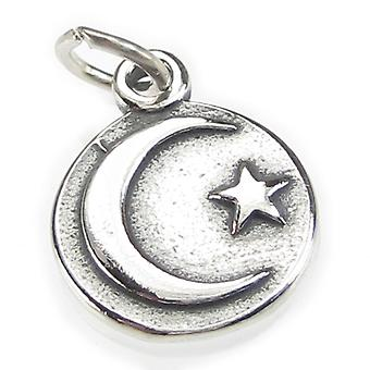 Moon With A Star Sterling Silver Charm .925 X 1 Moons And Stars Charms - 3735