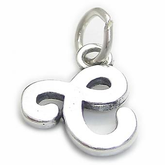 Script Letter C Initial Sterling Silver Charm .925 X 1 Letters Charms - 4255