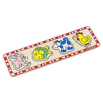 Alatoys Wooden  Puzzles (hare, fish, cow, rooster)